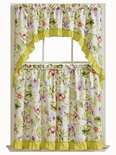 GoodGram Tropical Floral 3 Pc. Complete Tier & Swag Valance Kitchen Curtain (Tropical Valances)
