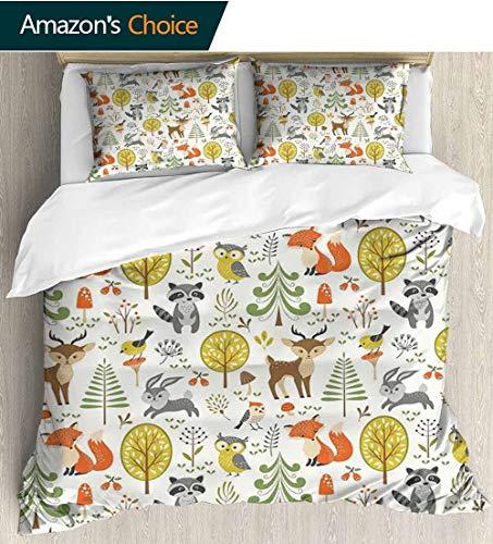 Kids Kids Quilt 3 Piece Bedding Set,Woodland Forest Animals Trees Birds Owls Fox Bunny Deer Raccoon Mushroom Home and Bedding Sets,1 Duvet Cover,1 Pillowcase 90