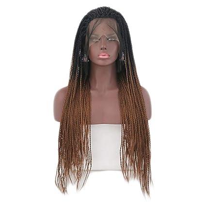 JYA SILK Peluca, Negro y marrón Moda Mujer Trenzas Mujer Africana Cordón Peluquín (Tamaño