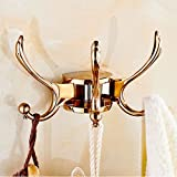 Sanliv Swing Arm Triple Coat and Hat Hooks in Rose Gold Finish