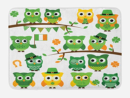 - Ambesonne St. Patrick's Day Bath Mat, Irish Owls with Leprechaun Hats on Trees Shamrock Leaves Horseshoe, Plush Bathroom Decor Mat with Non Slip Backing, 29.5 W X 17.5 L Inches, Green and White