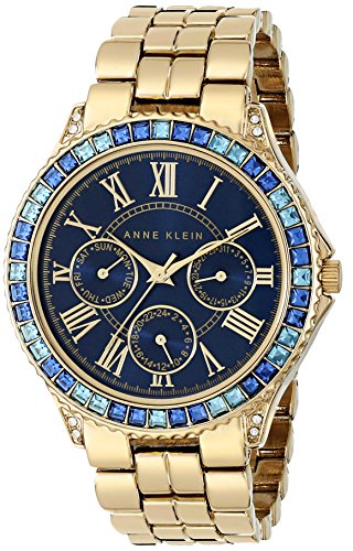 Anne Klein Women's AK/1712BLGB Swarovski Crystal Accented Blue Dial Gold-Tone Bracelet Watch