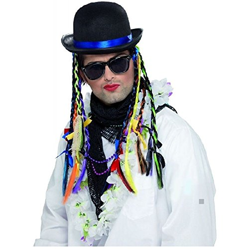 Boy George Hat with Braids Costume Accessory 80s Halloween Fancy (Afro Puff Wig 80s Costumes)