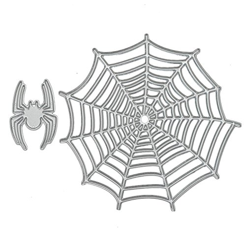 2 PCS Paper Cutting Dies, Halloween Spider and Spider Web Embossing Cutting Dies Stencils Templates Mould Set for DIY Scrapbooking Album Paper Card -
