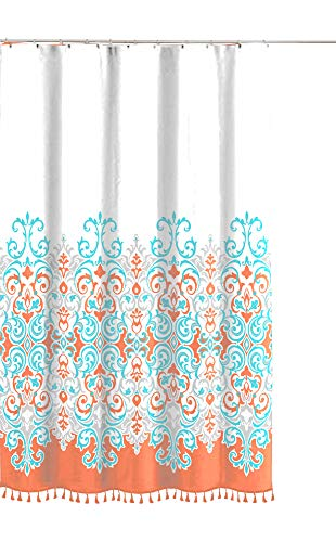 Sicily Collection Decorative Floral Fabric Shower Curtain: Elegant Style Blue Coral Orange White with Tassel Fringe