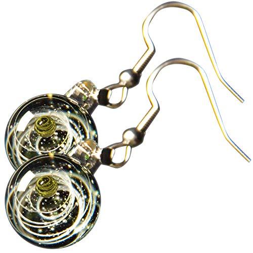 Pavaruni Original Galaxy Earring, Universe Glass, Space Cosmos Design,Birthday Art Japan Handmade Craftsman (Ourea(Earring))