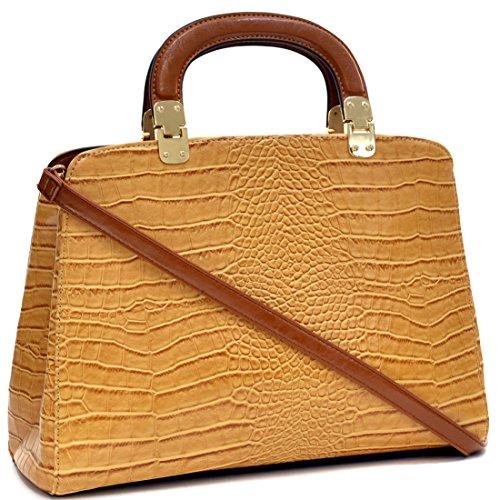 Dasein Faux Croco Leather Hinge Handle Laptop, Tablet, iPad Bag Satchel Briefcase Shoulder Handbag Purse with Removable Shoulder Strap - ()