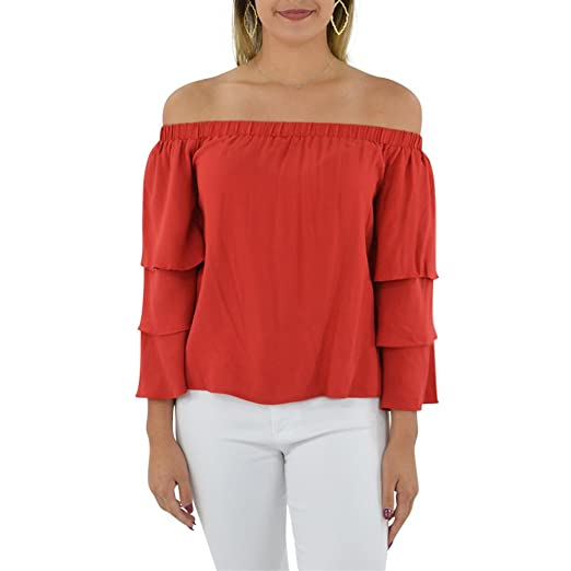 3f3a5404763599 Amazon.com  Ella Moss Stella Off The Shoulder Top in Flame  Clothing