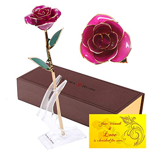 DuraRose Everlasting Long Stem Purple Rose Dipped in 24k Gold with Stand & Card Romantic 'I Love You' Special Occasion Gift for Her on Valentine's Day, Anniversary, Birthday or Mother's ()