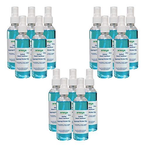 Arogya Herbal Alcohol Based Hand Sanitizer Spray (Aloe Vera, Tulsi and Neem Leaf Extract & 70% Alcohol) – 100ml Each…