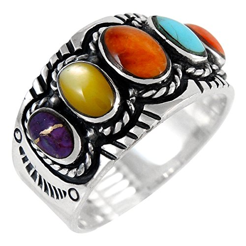 Stone Genuine Ring (Sterling Silver Gemstone Ring with Genuine Turquoise (Select Color) (Multi-Gemstones, 6))