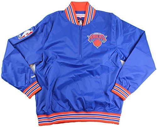 (New York Knicks Mitchell & Ness NBA Men's 1/4 Zip Nylon Pullover (Large))
