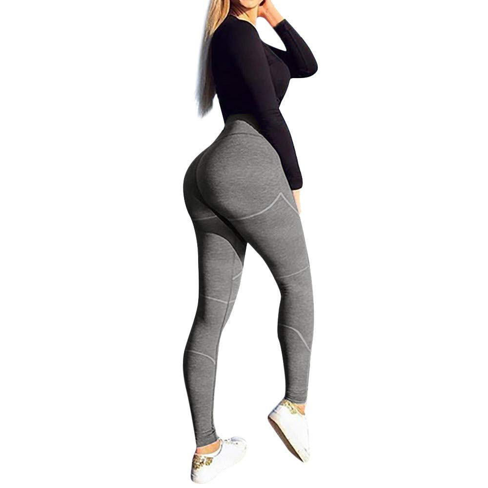 Women's High Waist Yoga Pants Butt Lifting Tummy Control Slimming Booty Leggings Workout Running Leggings Tights Grey