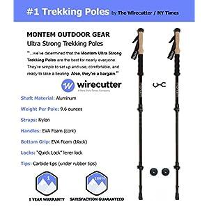 Montem Ultra Strong Trekking Poles, Black , One Pair