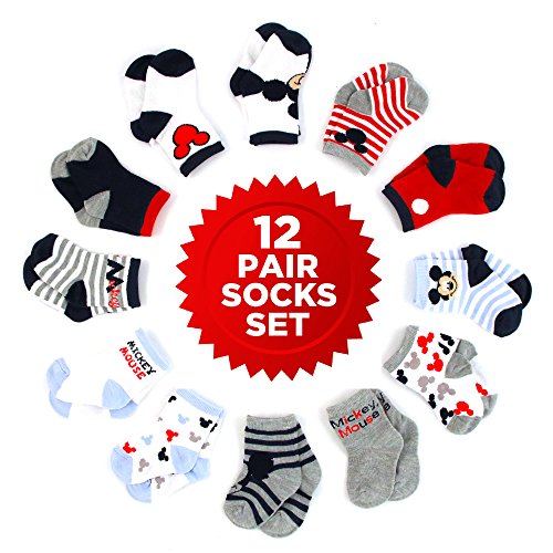 Disney Baby Boys' Mickey Mouse 12 Pair Socks Set,  Rojo, negro, blanco