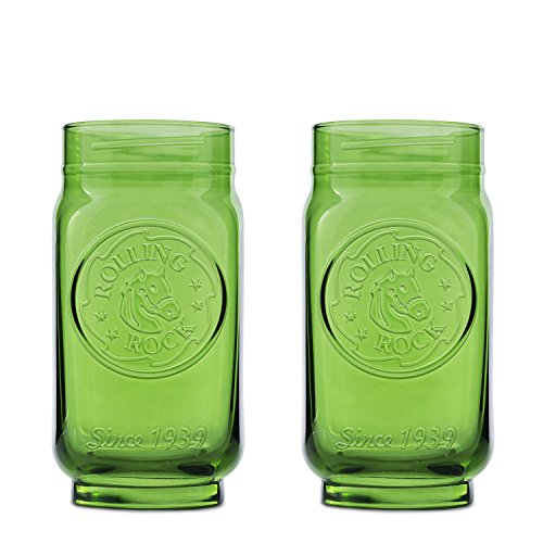 Rolling Rock 2-Pack Embossed Mason Jar Glass, 16oz