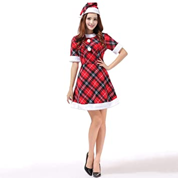 Yunfeng Disfraces de Papá Noel para Mujer Navidad Traje Rojo ...