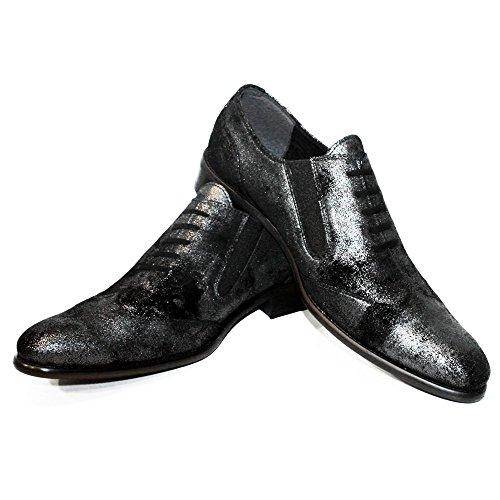 PeppeShoes Modello Filio - Handmade Italiano da Uomo in Pelle Argento Mocassini e Slip-On - Vacchetta Scamosciato - Scivolare su