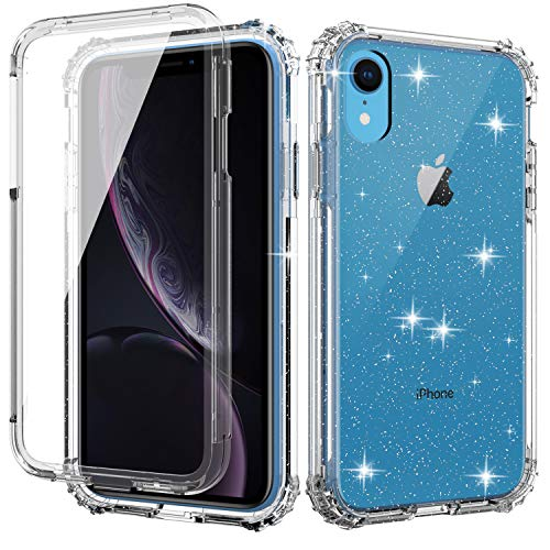 Misscase iPhone XR Clear Case,[Built in Screen Protector] Full Body Shockproof Dual Layer Protection Hard Plastic & Soft TPU with Anti-Scratch Bling Cover Case for iPhone XR 2018(6.1 inch),Clear