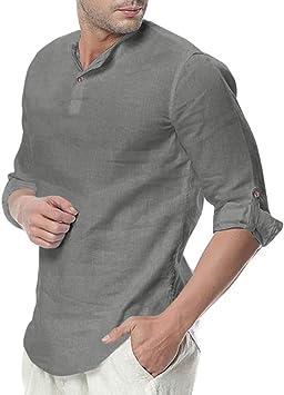 ღLILICATღ Camisa Hombre Cuello Mao Lino Blusa Manga 3/4 Camisas Top Sin Cuello De Color Sólido Blusas Suelta Camisas De Trabajo Suave Cómodo Transpirable: Amazon.es: Deportes y aire libre