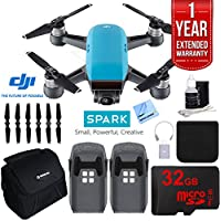 DJI SPARK Intelligent Quadcopter Drone Essentials Bundle (Sky Blue) With DJI Spare Battery, Cleaning Kit, 32Gb High Speed Card, Custom Case And One Year Warranty Extension