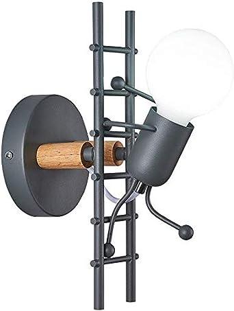 Arte pequeño humano subir escaleras E27 simple metal hierro madera lámpara de pared dormitorio estudio pasillo decoración del hogar lámpara de pared @ Gray: Amazon.es: Iluminación