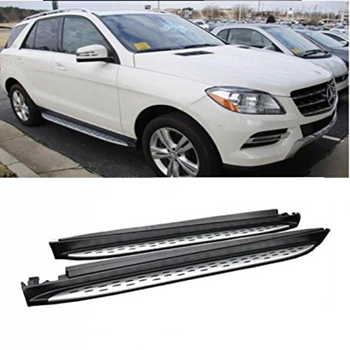 (VioGi 2pcs New OE Style Silver Aluminum Side Step Nerf Bars Running Boards + Necessary Mounting Hardware For 06-11 Benz ML-Class (W164) )
