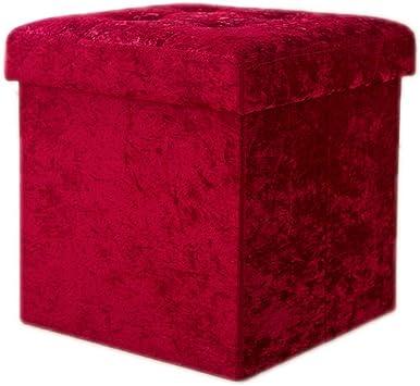 LARGE RED CRUSH VELVET OTTOMAN TOYS STORAGE FOOTSTOOL OTTOMAN BOX