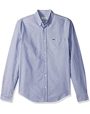 Men's Long Sleeve Regular Fit Button Down Oxford Solid Woven Shirt, Ch2286-51