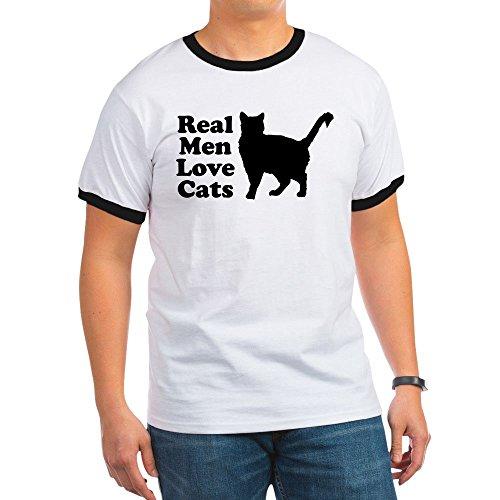 (CafePress - Real Men Love Cats - Ringer T-Shirt, 100% Cotton Ringed T-Shirt, Vintage Shirt Black/White)