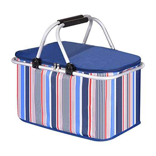 blue--net Folding Collapsible Cooler Basket Picnic Insulated Bag Waterproof 32L Picnic Cooler Tote Bag Large Capacity Market Baskets with Handle and Zipper for Camping/Picnic/Family Vacations/Beach ()