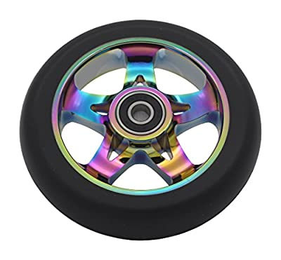 aibiku 110mm Pro Stunt Scooter Wheel with ABEC-9 Bearings fit for Fuzion/Envy/MGP/Lucky TFOX Pro Scooters (Pair) by aibiku