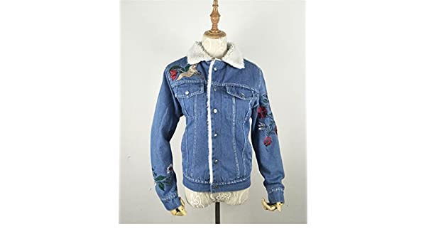 Ivan Johns Vintage Denim Jacket Women Embroidered Lamb Wool Coat Patch Design Single Breasted Jean Jacket Girl Chaquetas Mujer Blue L at Amazon Womens ...