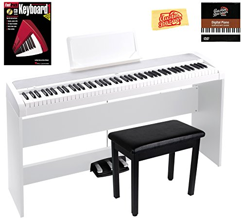 Korg B1SP Digital Piano - White Bundle with Furniture Stand, Bench, Three-Pedal Unit, Instructional Book, Austin Bazaar Instructional DVD, and Polishing Cloth by Korg