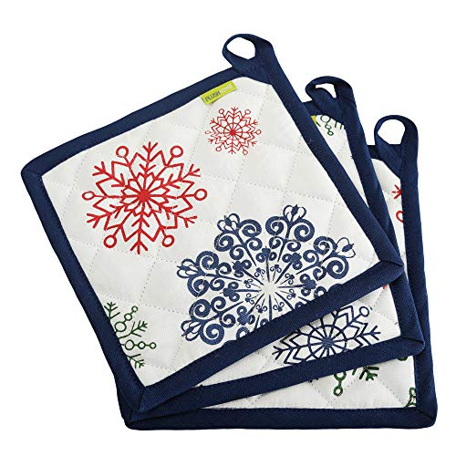 """Set of 3 Pot Holders - Christmas Snowflakes design, 100% Cotton of Size 8""""X8 Inch with high heat resistant polyester filling for Thanks Giving, Christmas & other Holiday Season."""