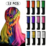 Hair Chalk for Kids, Kalolary 12 color Washable Hair Color Comb, Temporary Bright Hair Chalk Set, Safe for Makeup Birthday Party Christmas Cosplay, Gift for Girls Kids Teen Adult