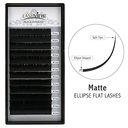 LASHVIEW SUPER Matte Mink Black Ellipse Flat Eyelashes Extensions 0.15mm C Curl Flat Eyelash Extension Mixed Tray 8-15mm Semi-permanent Individual Extremely Soft Application-friendly Salon Use