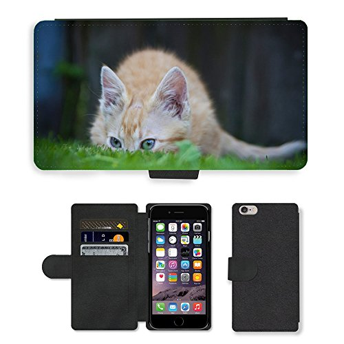 Just Phone Cases PU Leather Flip Custodia Protettiva Case Cover per // M00128709 Cat Hiding Herbe drôle animal // Apple iPhone 6 PLUS 5.5""