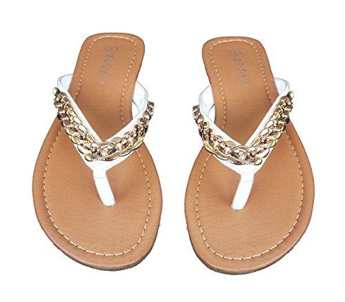 Elegante Damesmode Ketting Design Casual String Witte Platte Sandalen Wit