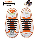 Coolnice No Tie Shoelaces for Kids funny 12pcs - Environmentally safe silicone - Lazy Shoestrings - Color of Black