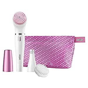 Braun Face SE832S Color Facial Cleansing Brush & Facial Epilator Limited Edition with Sensitive Brush and Pouch