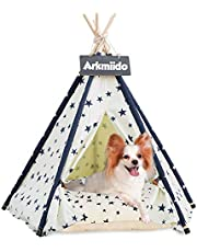 Arkmiido Pet Teepee with Cushion, Dog(Puppy)/Cat House with Bed, Pet Tent Bed Indoor Outdoor