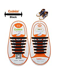 Coolnice® No Tie Shoelaces for Kids Outdoor Sports - Flat Elastic Stretchy Waterproof Silicone Tieless Shoe Laces with Multicolor for Athletic Sneaker Boots Board Running Shoes and Casual Shoes
