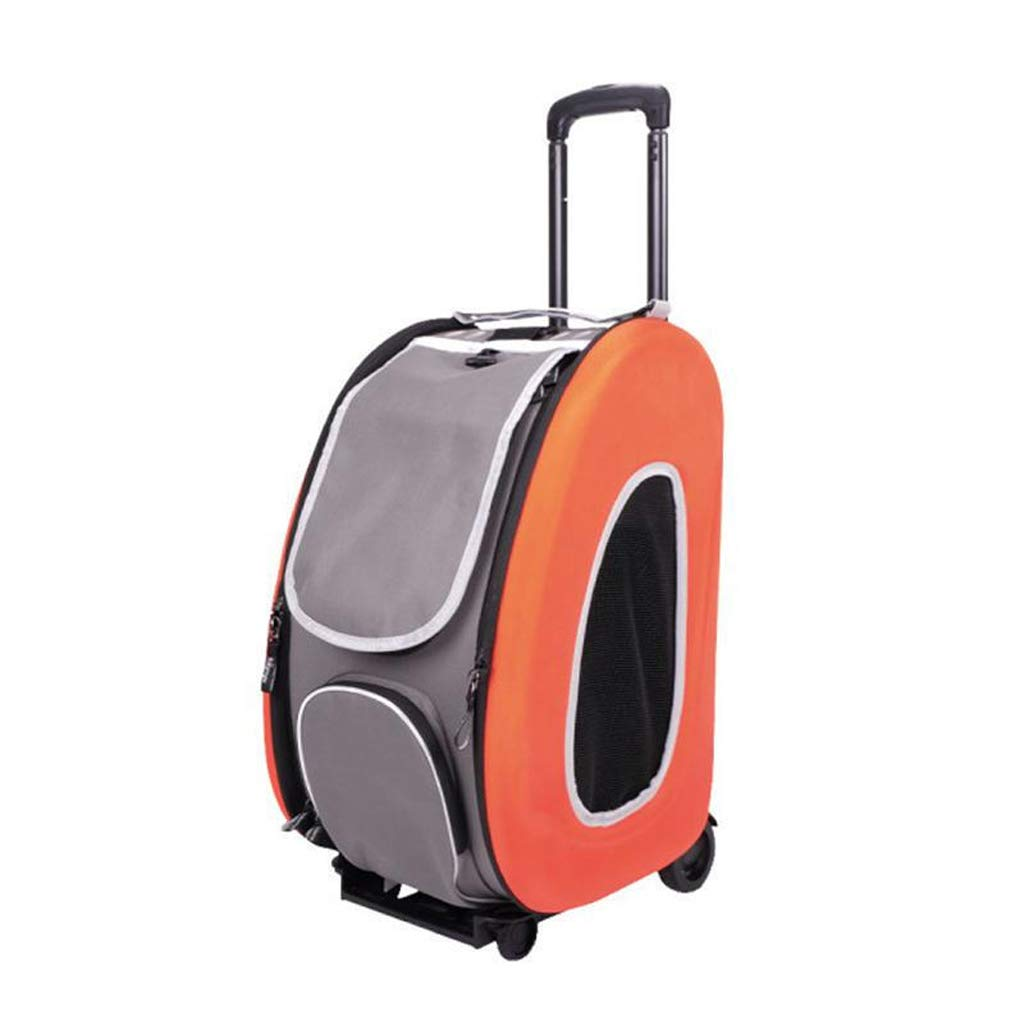 orange YE Pet Stroller, Small And Medium Dogs And Cats Foldable Portable Cart, Weight Bearing 8kg (color   orange)