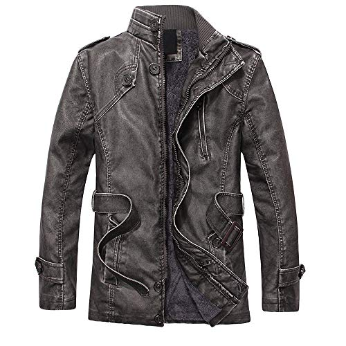 Price comparison product image Mnyycxen Men's Fashion Collar and Velvet Pu Leather Jacket,  Tactical Long Slim Motorcycle Jackets Coat (3XL,  Army Green)