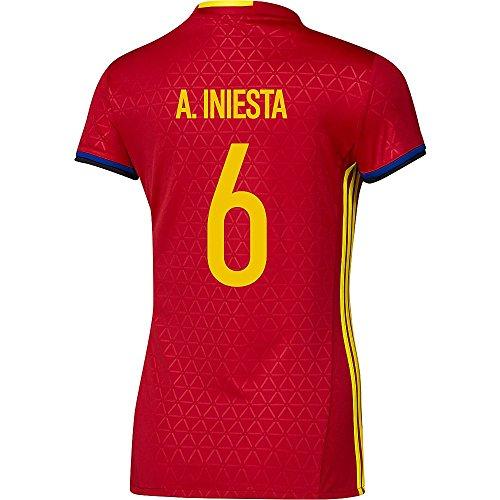 階層耕す予約Adidas A. INIESTA #6 Spain Women's Home Jersey UEFA FURO 2016 (Authentic name & number) /サッカーユニフォーム スペイン ホーム用 A. イニエスタ レディース向け