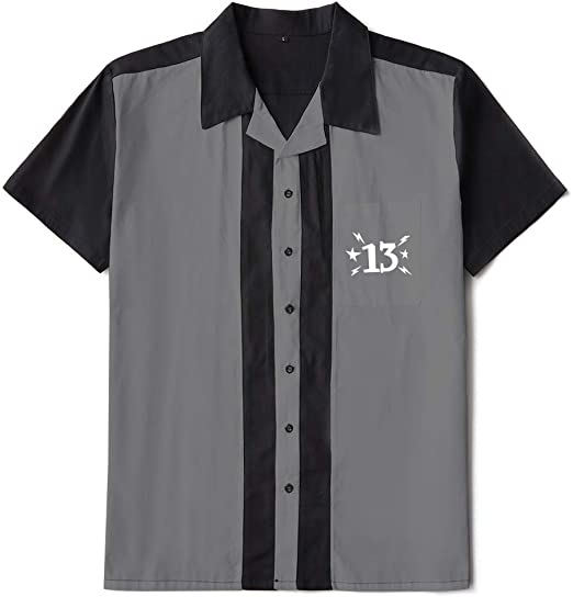 Candow Look Bowling Shirts Two-Tone Black&Grey Embroidered Men Shirt: Amazon.es: Ropa y accesorios