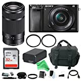 Sony Alpha a6000 Mirrorless Camera w/ 16-50mm & 55-210mm Lens and 32GB Memory Card + DigitalAndMore Deluxe Accessory Bundle