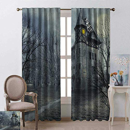 Returiy Halloween, Party Curtains Decorations, Halloween Design with Gothic Haunted House Dark Sky and Leafless Trees Spooky Theme, Curtains and Drapes for Living Room, W96 x L108 Inch, -