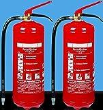 2 x Pulver - Feuerlöscher mit Manometer # insgesamt also 2 Stück # für Brandklassen ABC - Pulver 6 kg